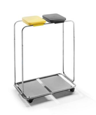 Wertstoffsammler - für 2 x 70 / 120-l-Sack, Fahrgestell, Deckel gelb und schwarz