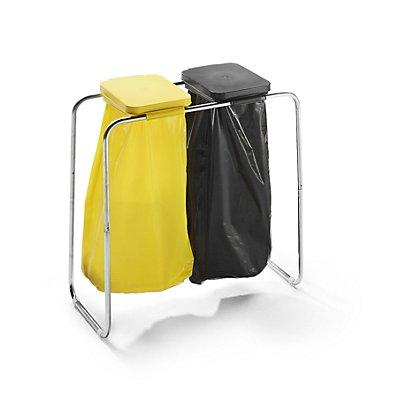Wertstoffsammler - für 2 x 70 / 120-l-Säcke, Standgestell, Deckel gelb und schwarz
