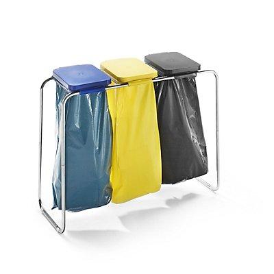 Wertstoffsammler - für 3 x 70 / 120-l-Säcke, Standgestell, schwarz