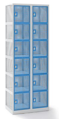 QUIPO Lochblechspind - Abteil 300 mm, 12 Fächer, für Vorhängeschloss
