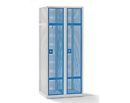 QUIPO Lochblechspind - Abteil 400 mm, 2 Fächer, Zylinderschloss, Türen lichtblau