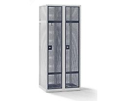 QUIPO Lochblechspind - Abteil 400 mm, 2 Fächer, Zylinderschloss, Türen basaltgrau
