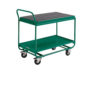 EUROKRAFT ACTIVE GREEN Tischwagen - mit Auffangwanne, Gitterrost und Ablasshahn