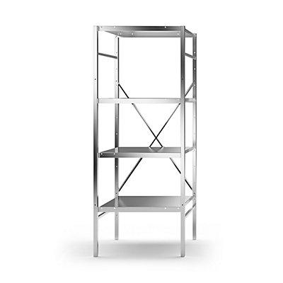 KEK Edelstahl-Steckregal, 4 glatte Fachböden - Fachbodenbreite x Tiefe 640 x 540 mm