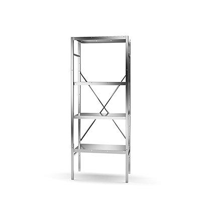 KEK Edelstahl-Steckregal, 4 glatte Fachböden - Fachbodenbreite x Tiefe 640 x 440 mm