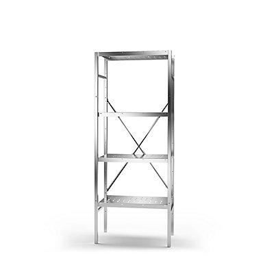 KEK Edelstahl-Steckregal, 4 gelochte Fachböden - Fachbodenbreite x Tiefe 640 x 440 mm