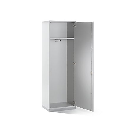 Garderobe - 1 Fachboden, 1 ausziehbare Kleiderstange, lichtgrau