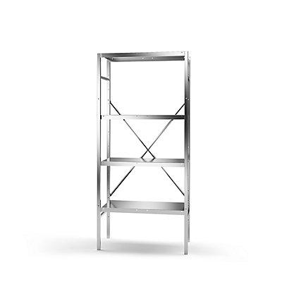 KEK Edelstahl-Steckregal, 4 glatte Fachböden - Fachbodenbreite x Tiefe 740 x 440 mm