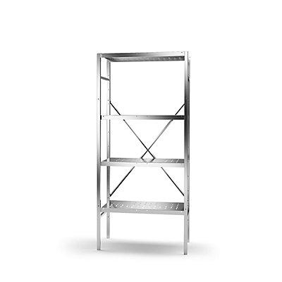 KEK Edelstahl-Steckregal, 4 gelochte Fachböden - Fachbodenbreite x Tiefe 740 x 440 mm
