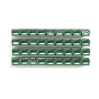 Plastipol-Scheu Einhängeschienen-Set mit Sichtlagerkästen - 4 Schienen, 36 Kästen