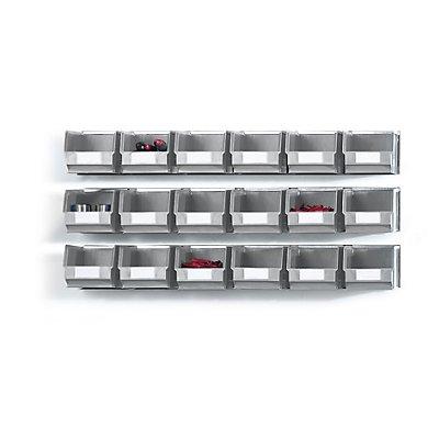 Plastipol-Scheu Einhängeschienen-Set mit Sichtlagerkästen - 3 Schienen, 18 Kästen