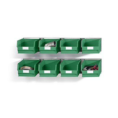 Plastipol-Scheu Einhängeschienen-Set mit Sichtlagerkästen - 2 Schienen, 8 Kästen