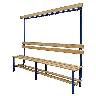 Melzer Metallbau Garderobenbank mit Hakenleiste und Holzleisten - mit Schuhrost, einseitig, Länge 2000 mm, 10 Haken