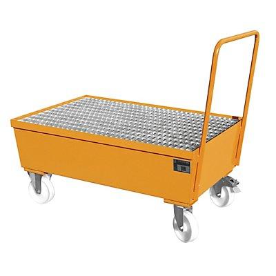 BAUER Auffangwanne fahrbar, Stahlblech - für 200-l-Fässer, 2 x stehend