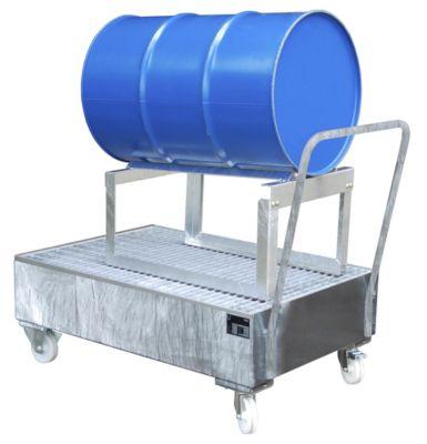 Auffangwanne aus Stahlblech, fahrbar - für 200-l-Fass, 1 x liegend