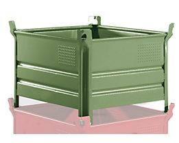 Heson Vollwand-Stapelbehälter, BxL 800 x 1000 mm - Füllhöhe 500 mm, Traglast 500 kg, ab 10 Stk