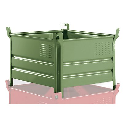 Heson Vollwand-Stapelbehälter, BxL 800 x 1000 mm - Füllhöhe 500 mm, Traglast 1000 kg