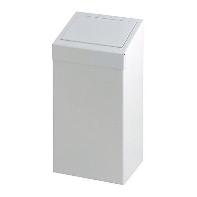 Abfallsammler mit Einwurfklappe, Inhalt 50 l, weiß