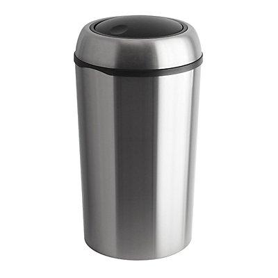 Collecteur de déchets en inox - SWING TOP rond, capacité 75 l - hauteur 710 mm, Ø 400 mm