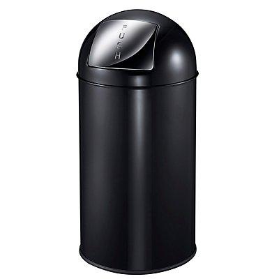 Collecteur de déchets à trappe BULLET PUSH, en tôle d'acier - capacité 40 l, h x Ø 740 x 340 mm