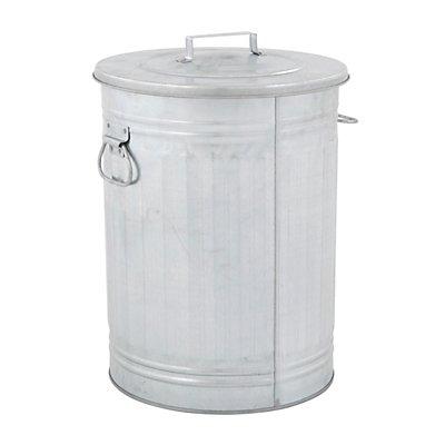 Mülltonne, Stahlblech, rund, mit Deckel, verzinkt
