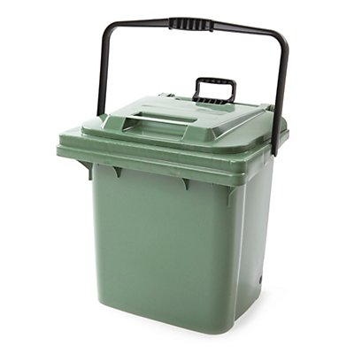 Abfallbehälter aus Kunststoff, mit Ziehstange, grün