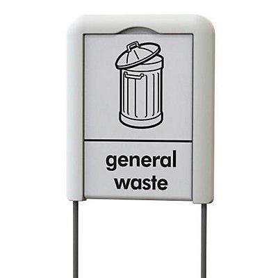 Hinweisschild für Abfalleimer, Höhe 1344 mm, grau