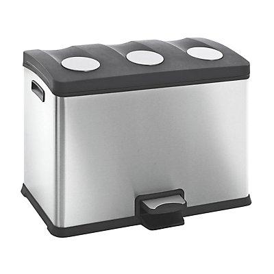 Pedal-Abfallsammler, Inhalt 3 x12 l, Edelstahl, matt