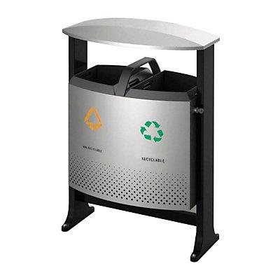 Abfallbehälter, mit Dach, BxT 405 x 720 mm, Inneneimer, Kunststoff