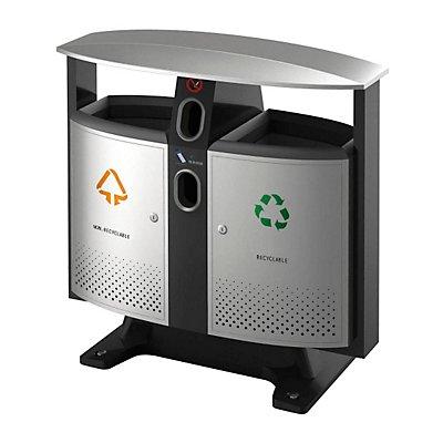 Abfallbehälter, mit Dach, BxT 420 x 1030 mm, Inneneimer, verzinkt