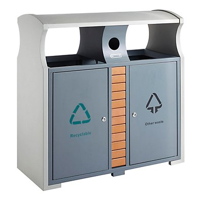 Recycling-Abfallbehälter für Außen, HxBxT 1000 x 400 x 1000 mm, Inhalt 2 x 39 l