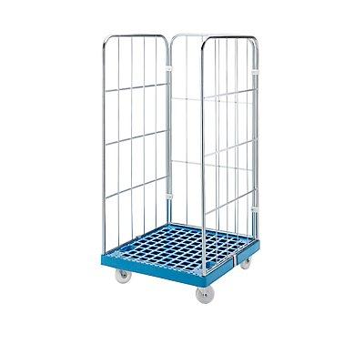 RIMO Rollbehälter mit Gitterwänden - Kunststoff-Rollplatte, 3-seitig