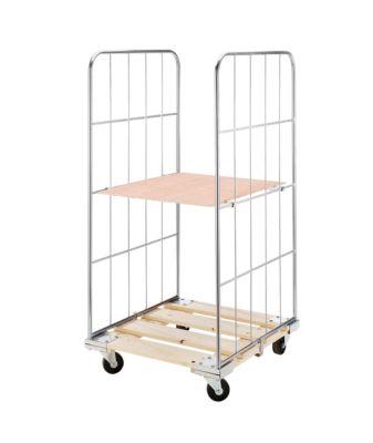 Rollbehälter mit Gitterwänden - Holz-Rollplatte, 2-seitig