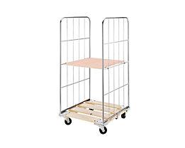 Rollbehälter mit Gitterwänden - Holz-Rollplatte, 2-seitig - HxB 1620 x 640 mm