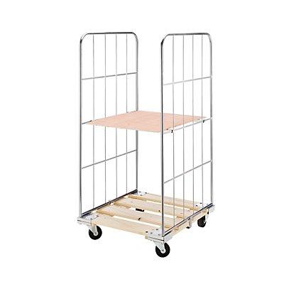 RIMO Rollbehälter mit Gitterwänden - Holz-Rollplatte, 2-seitig
