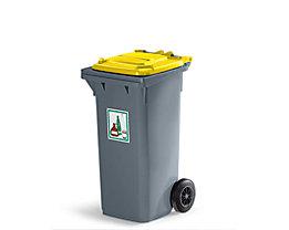 Kunststoff-Großmülltonne nach DIN EN 840 - Volumen 80 l, fehgrau - Deckel gelb