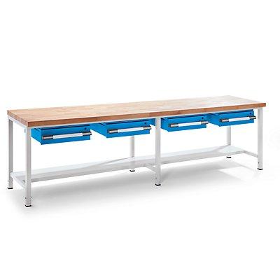EUROKRAFT Werkbank, höhenverstellbar - mit Schubladen - Breite 2000 mm, grau / blau