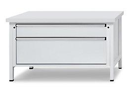 Werkbank mit XL/XXL-Schubladen - Breite 1500 mm, 2 Schubladen - Universalplatte, Front lichtgrau