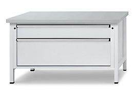 Werkbank mit XL/XXL-Schubladen - Breite 1500 mm, 2 Schubladen - Stahlblechbelagplatte, Front lichtgrau