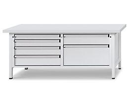 Werkbank mit XL/XXL-Schubladen - Breite 2000 mm, 6 Schubladen, Front lichtgrau