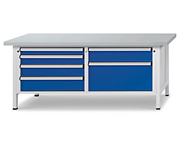 Werkbank mit XL/XXL-Schubladen - Breite 2000 mm, 6 Schubladen, Front enzianblau