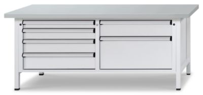 Werkbank mit XL/XXL-Schubladen - Breite 2000 mm, 6 Schubladen