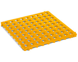 Kunststoff-Bodenrost, Polyethylen - 500 x 500 mm, Standard, VE 20 Stk - signalgelb