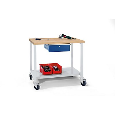 ANKE Werkbank kompakt, Buchemassivplatte - BxT 1140 x 650 mm, 1 Schublade