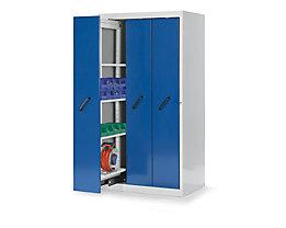 Lista Vertikalauszugschrank mit Frontblenden - mit 4 Ablageböden, grau / blau