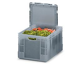 Stapelbehälter aus Polypropylen - Inhalt 60 l, Außenmaße LxBxH 600 x 400 x 320 mm - grau