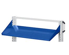 ANKE Ablageboden - schräg, Aufkantung 75 mm - BxT 1250 x 250 mm, blau