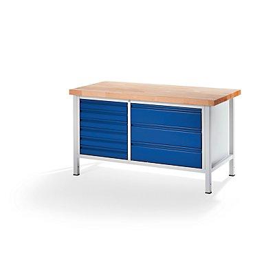 RAU Werkbank, stabil - 6 Schubladen Größe L, 3 Schubladen Größe XL