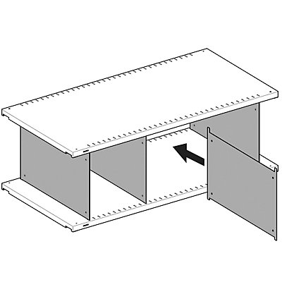 Lista Fachtrennwand, verzinkt - für Fachbodentiefe 600 mm, VE 10 Stk
