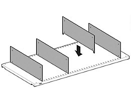 Lista Fachteiler, verzinkt - für Fachbodentiefe 600 mm, VE 10 Stk